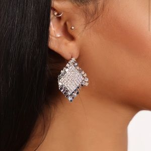 Rhinestone Drop Earrings (Silver)